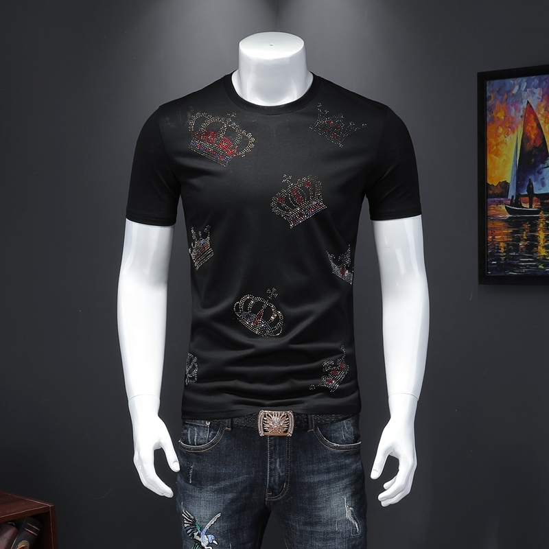 New Pattern Summer Wear T-shirt Men Brilliant Printed Tshirt For Men Slim Fit Short Sleeve Social Club Outfits Designer Clothing