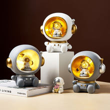 Nordic resin astronaut statue cute home decoration accessories night light glowing piggy bank children's toy gift