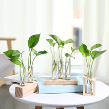 2pcs Crystal Glass Test Tube + Vase Flower Pots with Brush +1pc Wood Stand Base Hydroponic Plants Home Office Decoration