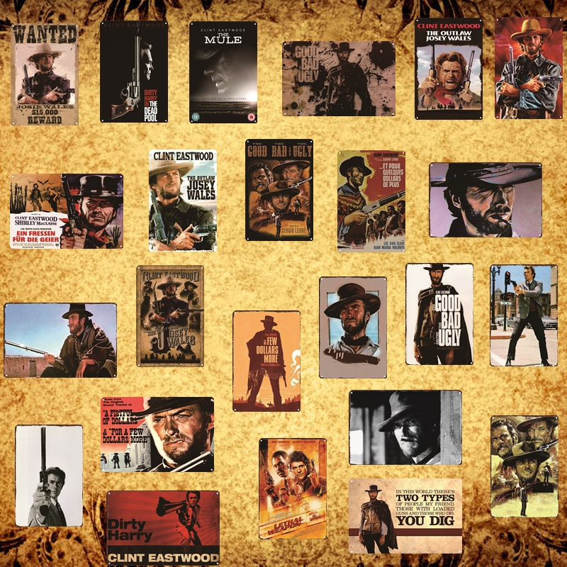 [Luckyaboy] Clint Western Movie Poster Good Bad Ugly Dirty Harry Vintage Metal Tin Sign Retro Pub Home Cafe Decor Plate AL013