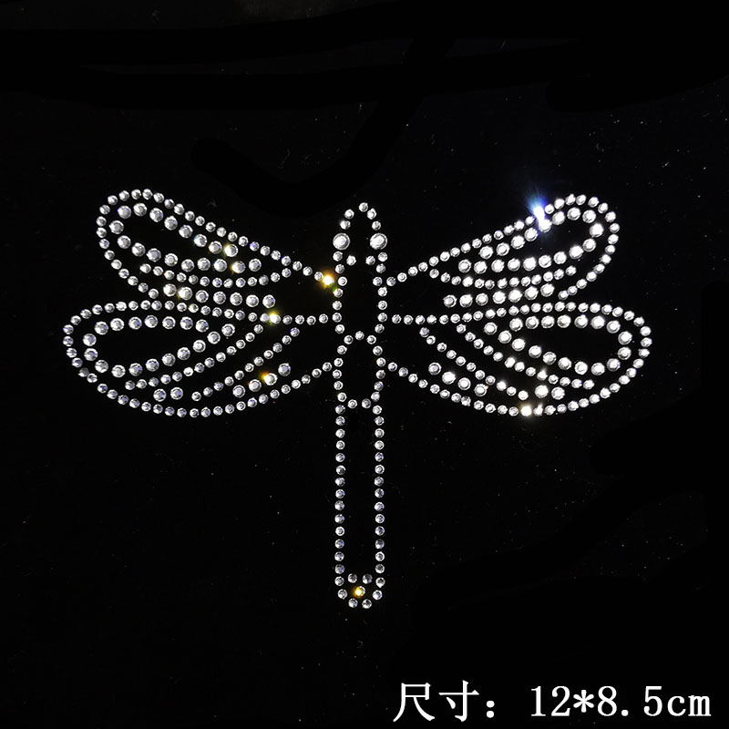 2pc lot Dragonfly design stones sticker hot fix motif iron on crystal transfers design iron on rhinestone patch appliques in Rhinestones from Home Garden