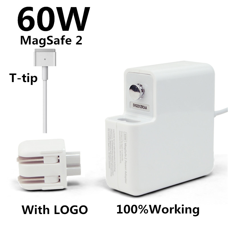 New! with logo oem t-tip 60w laptop magsaf* 2 power adapter charger for apple macbook pro retina 13'' a1425 a1435 a1502