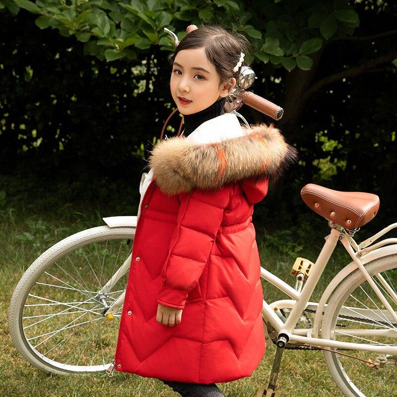 Veste enfant-30 Dergees russie hiver fille manteau épaissir chaud Long doudoune pour fille 5-14 ans enfants ado parka
