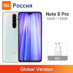 Versão global xiaomi redmi nota 8 pro 6 gb 64 gb/128 gb 64mp 4 câmeras 4500 mah mtk helio g90t nfc refrigeração líquido do telefone móvel