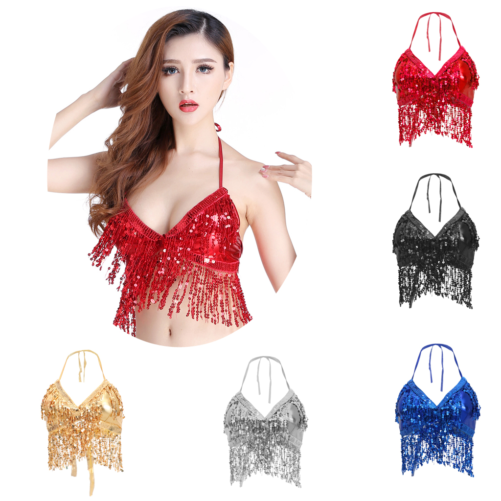 Belly Dance Costume Adjustable Padded Bra Halter Top Sequin Performance Outfits Club Party Festival Rave Dance Sexy Crop Tops