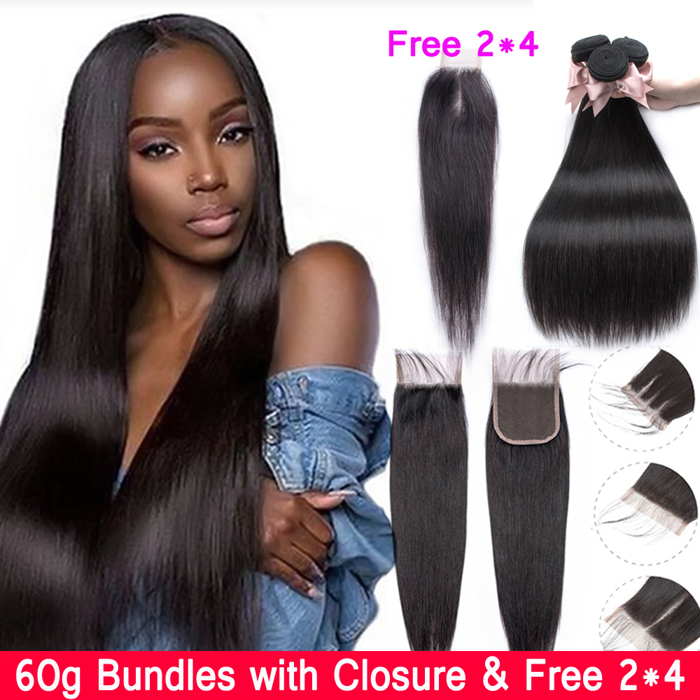 60g Straight Bundles With Closure Beaudiva Brazilian Hair Weave Bundles With Closure 4*4 & 2*4 Human Hair Bundles With Closure 1