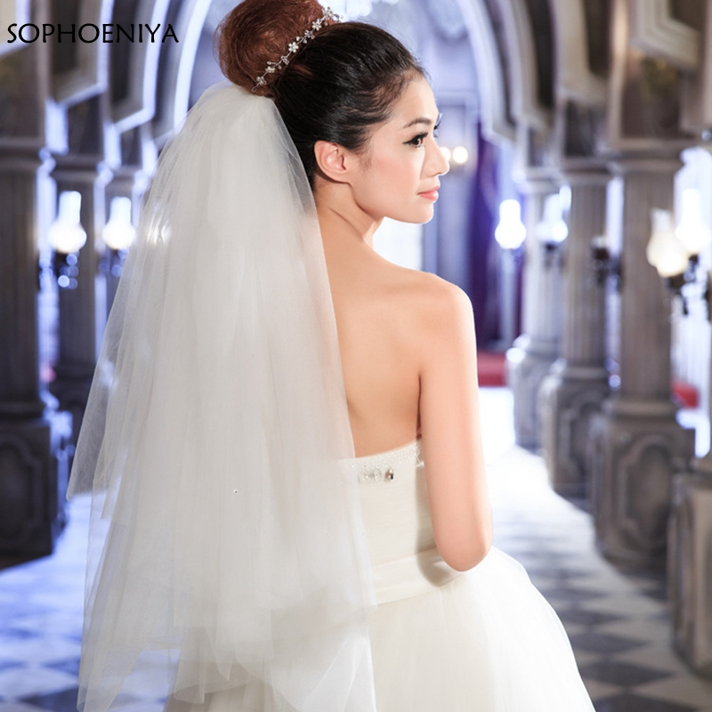 New Arrival 4 Layers Wedding Veil White Ivory Champagne Voile Mariage Casamento Bridal Veil Cheap Wedding Accessories Matrimonio