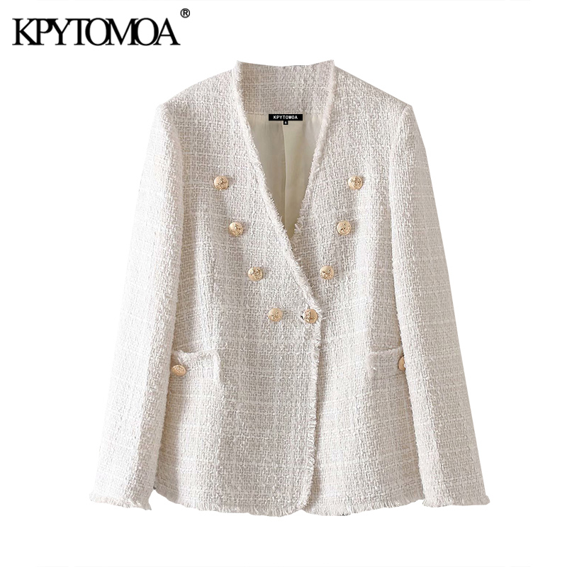 KPYTOMOA Women Fashion Double Breasted Frayed Trims Tweed Blazers Coat Vintage V Neck Long Sleeve Female Outerwear Chic Tops