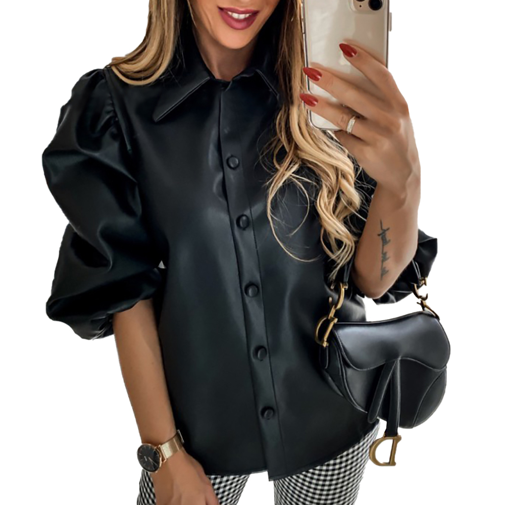Elegant Shirts Women Leather Blouse Women Spring Long Sleeve Shirts Blouses Vintage Puff Sleeve Buttons Tops Ladies Blusas Mujer