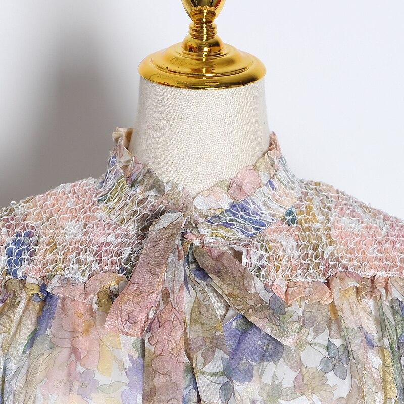 Chiever Casual Print Patchwork jumpsuits mujer linterna de cuello alto manga larga de cintura alta de encaje Up jumpsuit mujeres 2019 Tide - 3