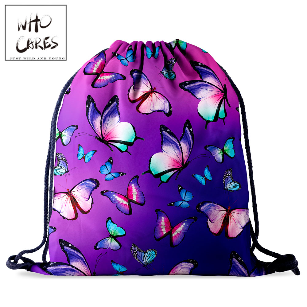 Who Cares Women Backpack Drawstring Storage Bag Gym Butterfly 3D Printing Purple Gift Storage Bag Portable Travel Bag
