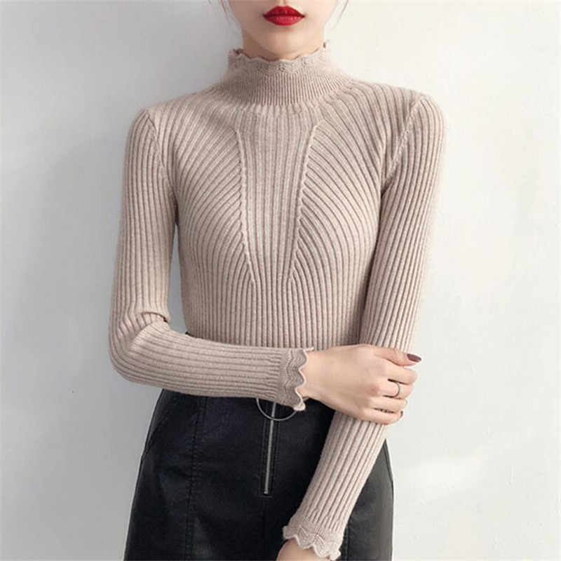Semi-high collar sweater thick spring and autumn new 2019 short section Slim net red pullover knit bottoming shirt female long s