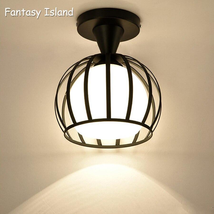 Купить с кэшбэком Nordic Minimalism Retro Iron white black Ceiling Light Lamp Cozy Decor for Bed Room Corridor Dining rooWhite Black Loft E27
