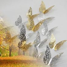 12Pcs Wood Hollow Butterfly Wall Stickers for Kids Rooms 3D Stickes DIY Wall Decor Wall Sticker Wedding Decoration Home Decor 12pcs set new arrive mirror sliver 3d butterfly wall stickers party wedding decor diy home decorations wall sticker 5 colors