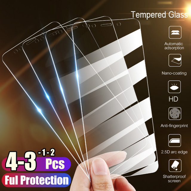 1/2/3/4Pcs Tempered Glass For Xiaomi Redmi Note 9S 9 Pro Max Screen Protector Protective Glass For Redmi Note 8t 8 8A 7 7A 6A 5