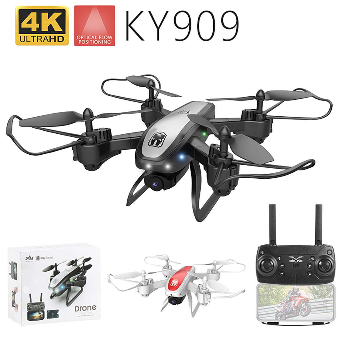 KY909 4K HD Camera <font><b>Drone</b></font> <font><b>FPV</b></font> WIFI Optical Flow Positioning RC Quadcopter Plane Folded Altitude Hold Long Battery Life Kids Toys image