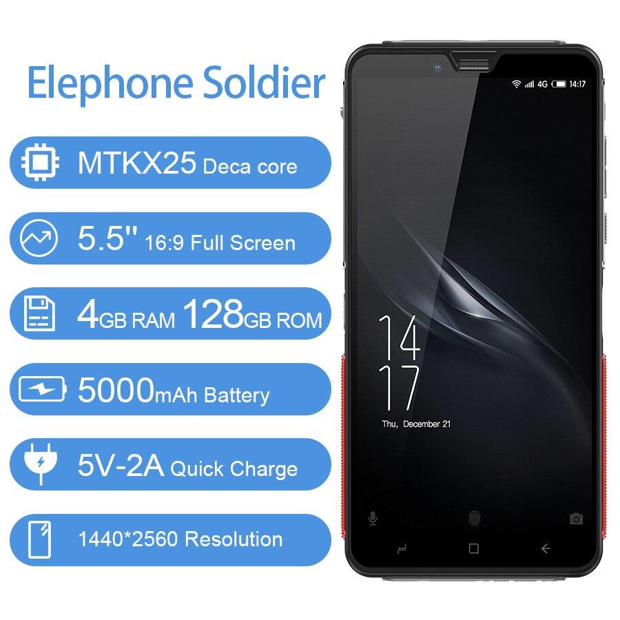 Elephone Soldier 5.5'' Android 8.0 Smartphone 4GB 128GB MTKX25 Deca core 16:9 Full Screen 5000mAh Side Fingerprint Mobile Phone