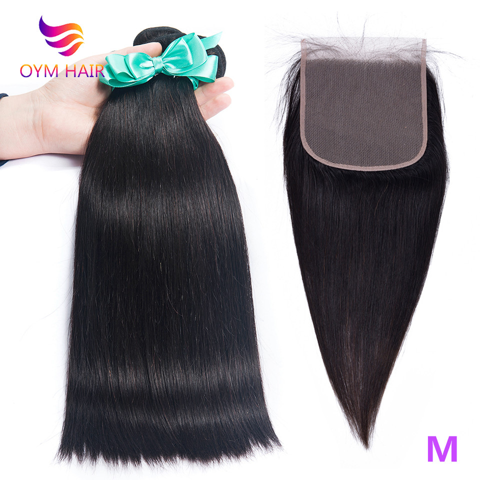 OYM HAIR Straight Hair Bundles With Closure Brazilian Non-Remy Human Hair Weave Bundles With 6x6 Lace Closure Hair Extension