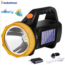Lanterna led portátil usb portátil portátil spotlight lanterna solar holofote com luz lateral à prova dwaterproof água 18650 ao ar livre
