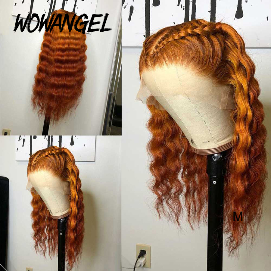 Wowangel Transparent Lace Front Human Hair Wigs For Women Brazilian Hair Deep Wave Colored Human Hair Wigs Glueless Lace Wig