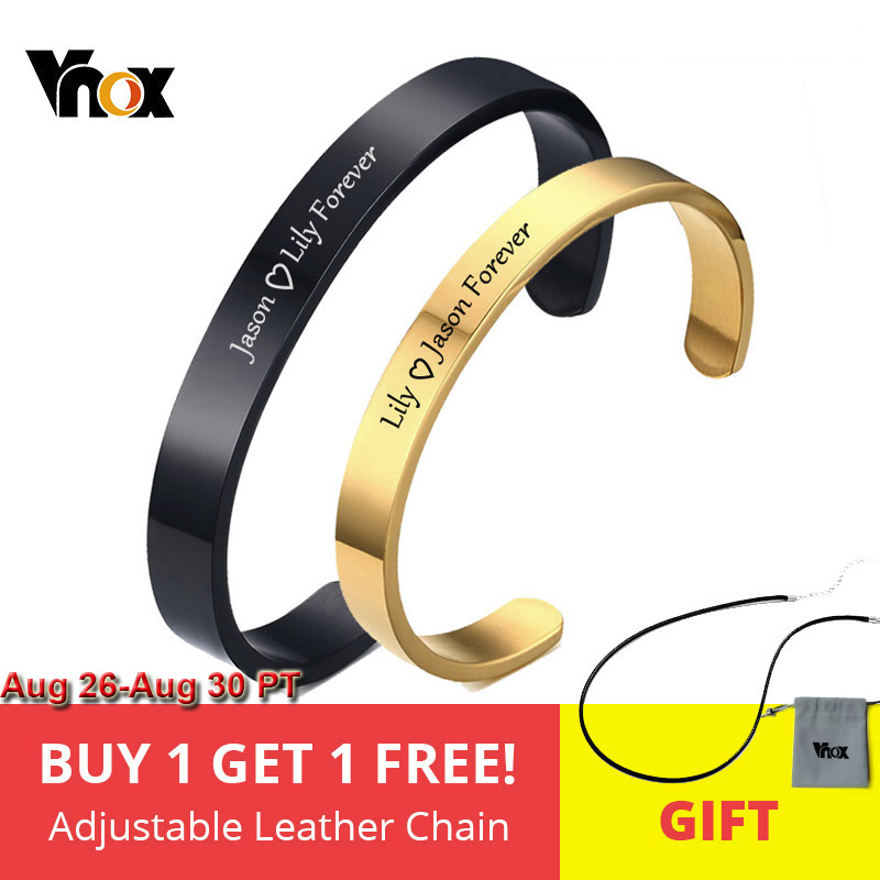 Vnox Free Engraving Personalized Couple Cuff Bracelets for Men Women Bangle Stainless