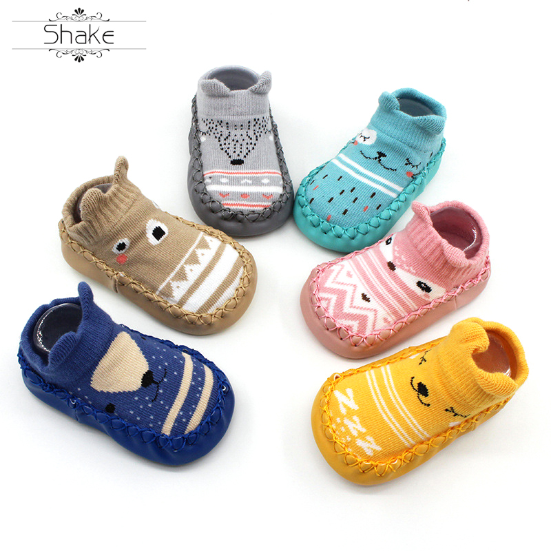 Baby Boys Girls Toddlers Cartoon Non-Skid Indoor Kids Floor Slipper Children Animals Outdoor Breathable Cotton Shoes Socks