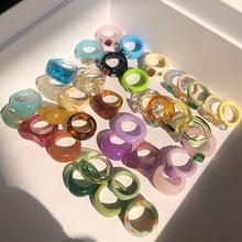 HUANZHI-Anillo de resina colorido para mujer, nueva geometría Irregular, Diamante de imitación transparente, circón, para fiesta, joyería diaria, 2021