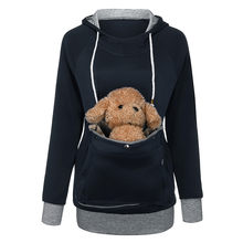 Cat Lovers Hoodie Kangaroo Dog Pet Pullovers Cuddle Pouch Sweatshirt zipper Pocket Velvet Long Sleeve Solid Patchwork HoodedF817(China)