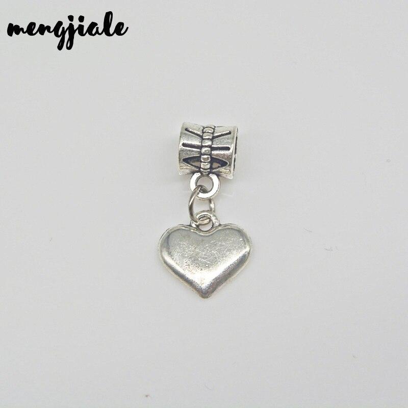 Хит продаж 16 шт оптом металлические тибетские серебряные подвески с сердечками для европейских браслетов