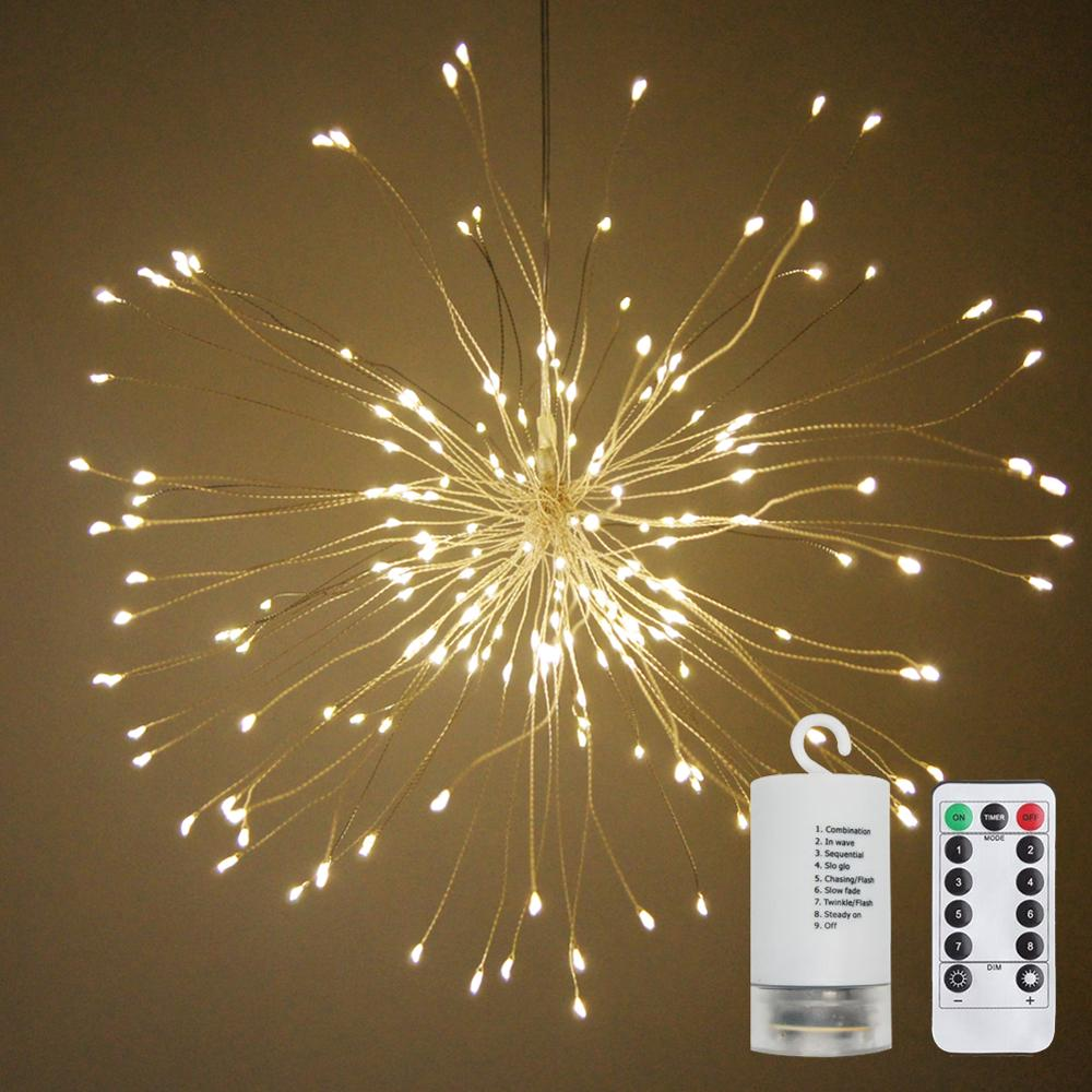 LED String Lights Battery Operated Hanging Starburst Lights With 120LEDS 8 Modes Dimmable With Remote Control IP65 Waterproof