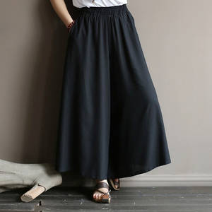Leg-Pants Wide Summe Oversized Drop-Feeling And Big Nine Literature Elastic-Waist Lazy-Wind