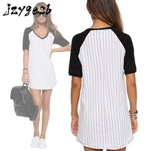 jzygesb Fashion Women half Sleeve Shirt Summer patchwork Dress striped o-neck Loose Sundress Party Dresses Short sleeve T-shirt
