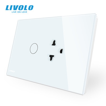Livolo US AU Standard Touch Switch+US Socket, with White Crystal Glass Panel, Power Socket ,with led Indicator - discount item  29% OFF Electrical Equipment & Supplies