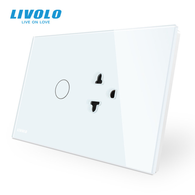 Livolo US AU Standard Touch Switch+US Socket, with White Crystal Glass Panel, US Touch Power Socket ,with led Indicator