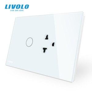 Image 1 - Livolo US AUมาตรฐานสวิทช์สัมผัส + US Socket,แผงคริสตัลแก้วสีขาว,US Touchซ็อกเก็ตพร้อมไฟLed