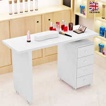 1set Manicure Table Profession Beauty Salon White Wooden Manicure Technicial Table Nail Station Desk With Four Drawers - DISCOUNT ITEM  30% OFF All Category