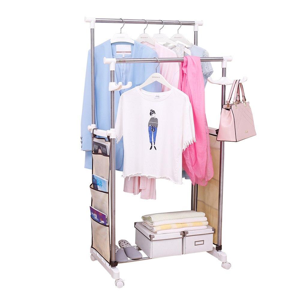Flexible Moving Adjustable Double Pole Clothes Coat Hat Garment Dryer Rack Hanging Rail Rack with Shoe Storage Shelf DQ0065B