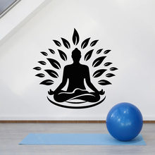 Flor de loto zen Pose Wall Decal Yoga Studio Gym Meditation Room decoración Interior hojas puerta ventana vinilo pegatinas papel tapiz Art E788(China)