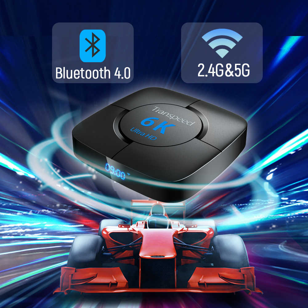 Transpeed android 9.0 caixa de tv bluetooth google assistente voz youtube 6 k 3d wifi 2.4g & 5.8g 4 gb ram 64g play store caixa superior