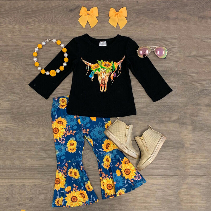 3PCS Toddler Baby Girl Clothes Tops TShirt Sunflower Flares Leopard Pants Outfit