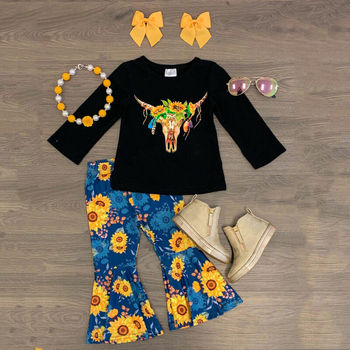 CANIS Spring Autumn 3PCS Toddler Baby Girl Tracksuit Clothes Long Sleeve Cotton T-shirt Sunflower Pants Outfits canis xl