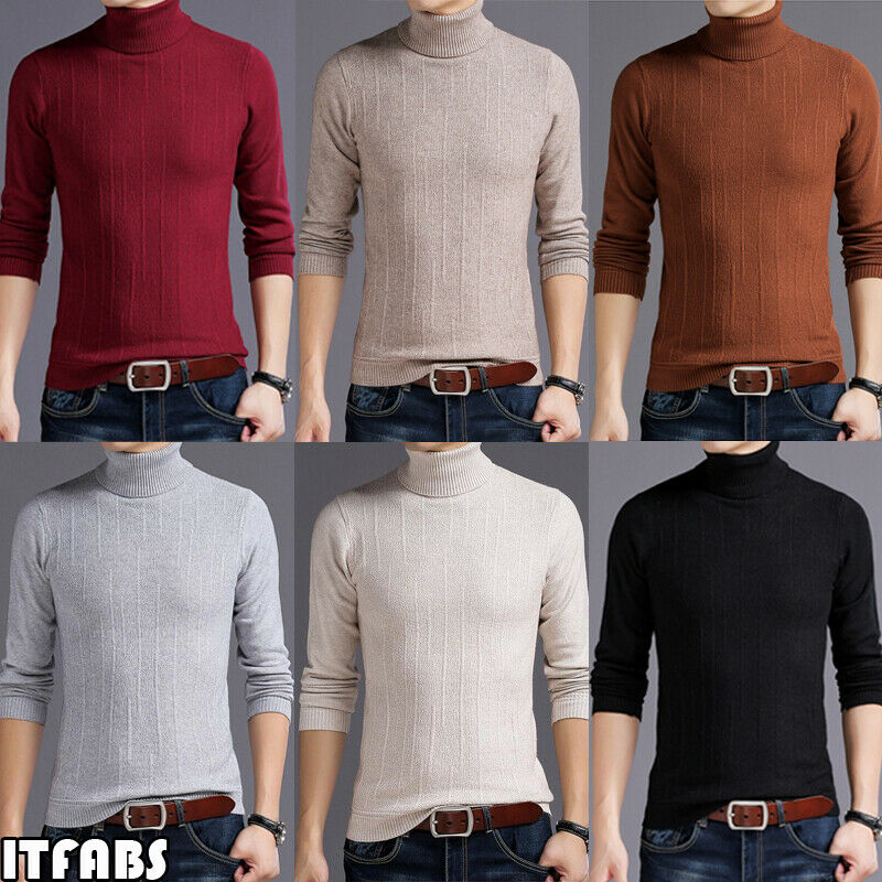 New Mens Winter Autumn Slim Knit Turtleneck Pullover Sweater Jumper Tops Male Casual Warm Sweaters Outwear M-XXL Dropshipping