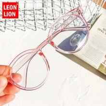 LeonLion Retro Anti-blue Light Glasses Frame Children's Glasses Round Glasses For Kids Student Eyeglasses Child Goggle Cute Pink