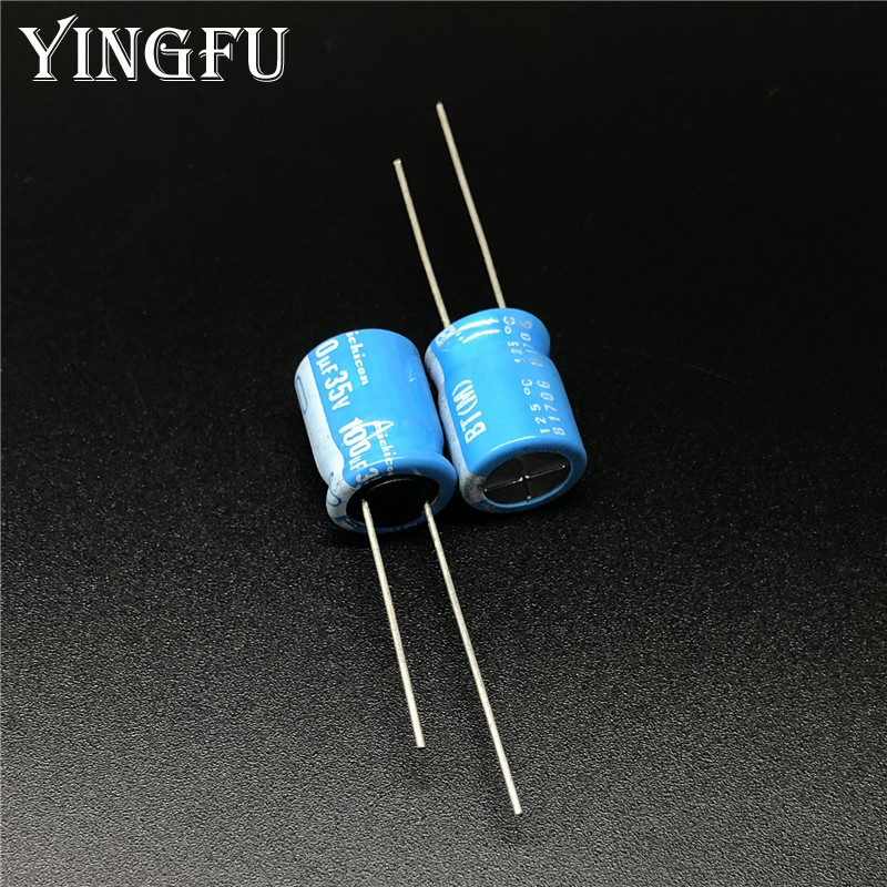 100pcs 100uF 35V NICHICON BT Series 10x12.5mm High Reliable 35V100uF Aluminum Electrolytic Capacitor