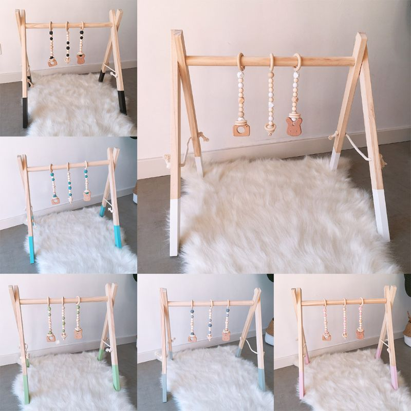 Nordic Style Cartoon Solid Wood Baby Kids Gym Ftness Rack Children Room Deco Toys With Ornaments Pendant Infant Clothes Frame