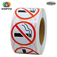 NO SMOKING warning labels stickers for public area 1 inch per roll 500pcs round adhesive sticker