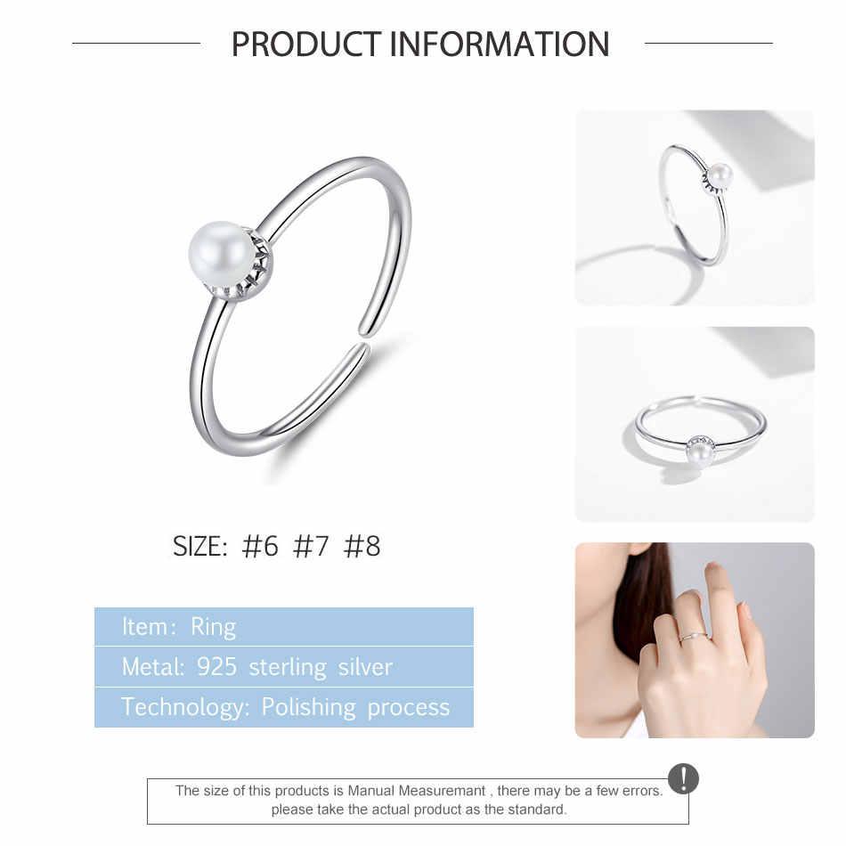 ELESHE แท้ 925 เงินสเตอร์ลิงเพิร์ลเปิดแหวนผู้หญิงแหวนนิ้วมือเครื่องประดับของขวัญ Dropship