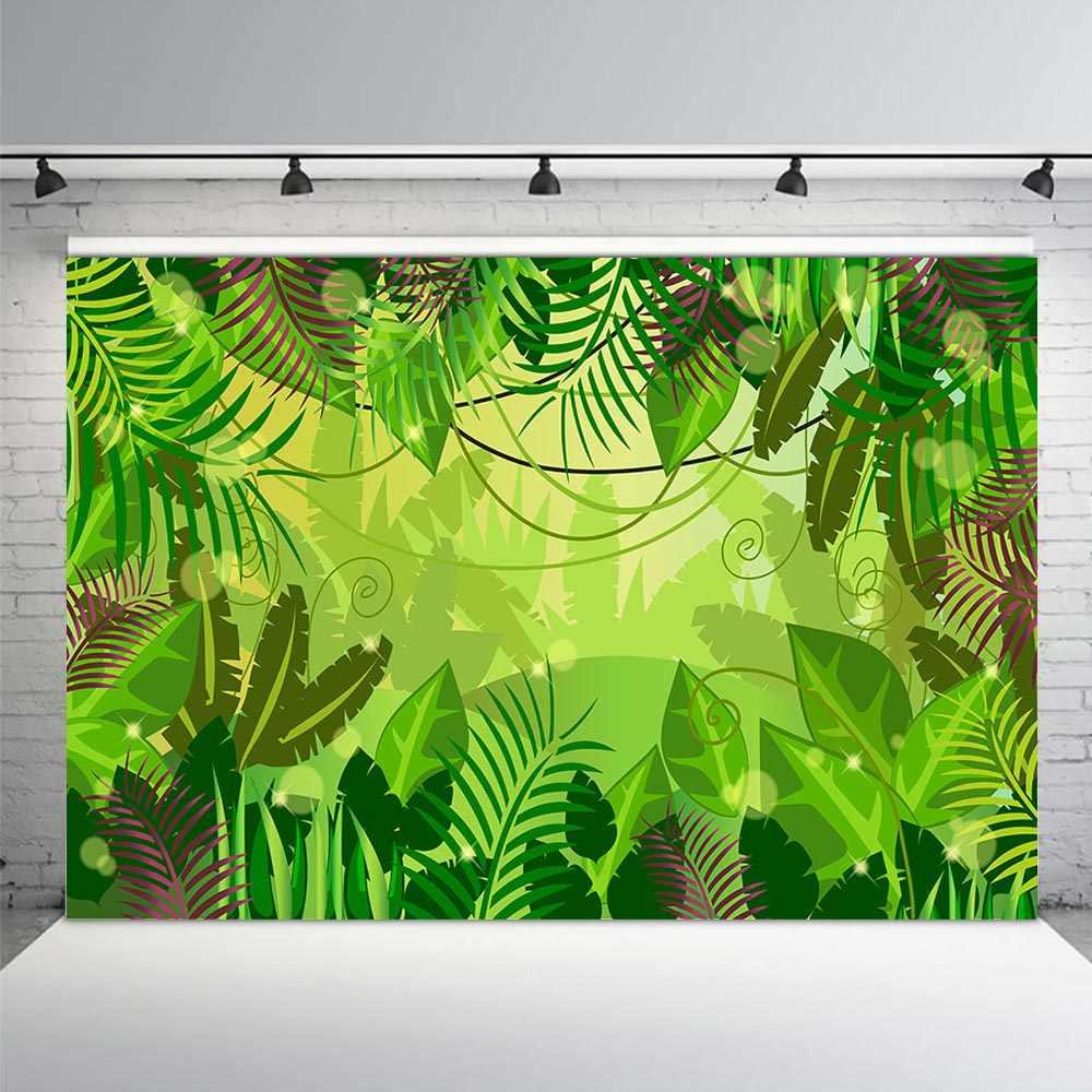 Jungle Safari doğum günü fotoğraf arka plan orman orman zemin parti süslemeleri bebek duş bahar tropikal yapraklar