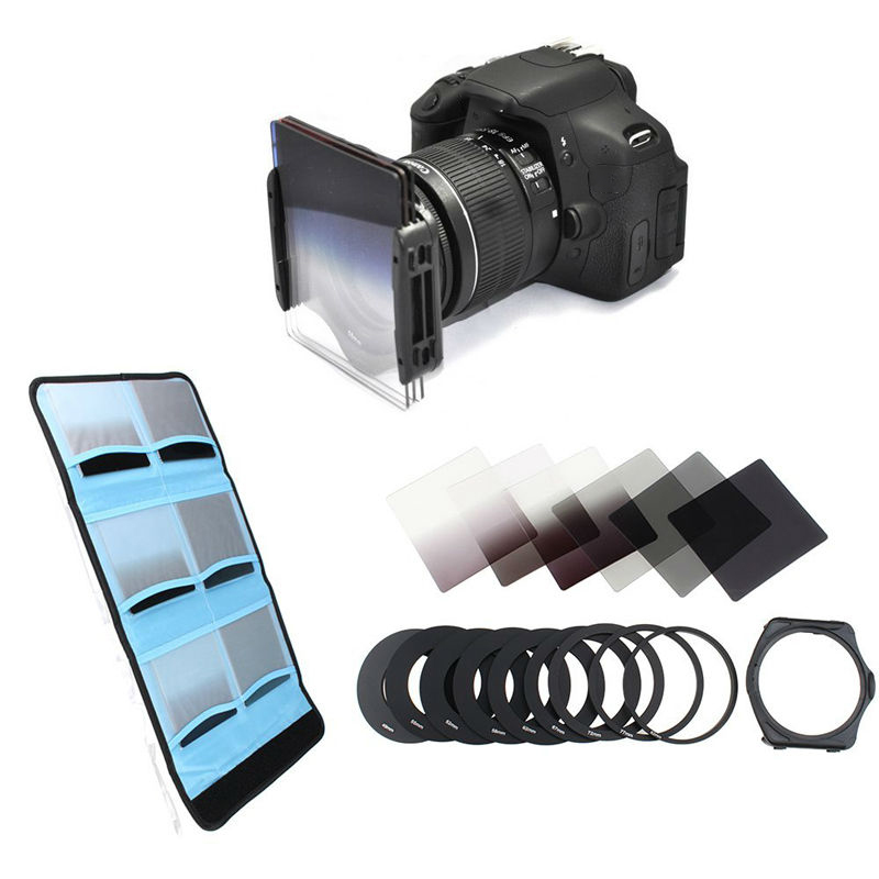 49 52 55 <font><b>58</b></font> 62 67 72 77 82mm Metal Adapter Ring 6 Cokin P Series Filter Set Full Gradually ND2 ND4 ND8 Bag Square Filter image