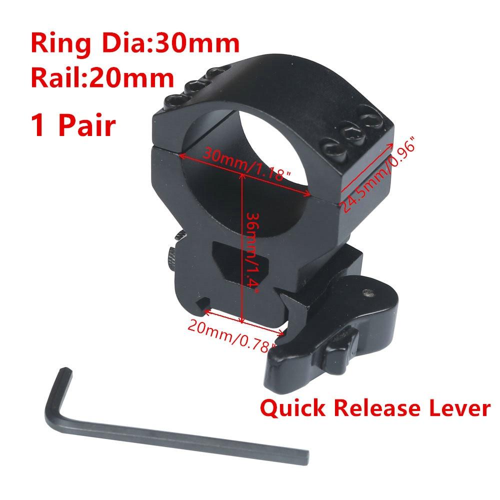 Scope Mount 30mm Ring Heavy Duty 6 Bolts 20mm Weaver Picatinny Rail QD Quick Detach Lever Lock Mount M16 Gun Lasers Flashlights